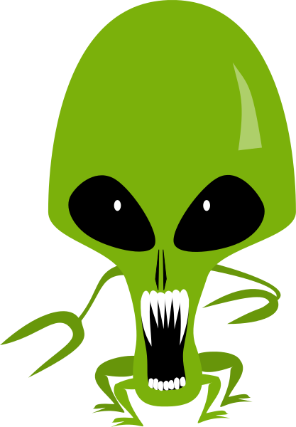 Scary teeth space printables. Aliens clipart angry alien