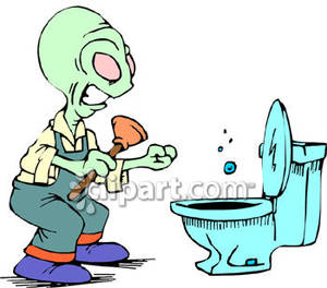 Aliens clipart angry alien. An trying to unclog