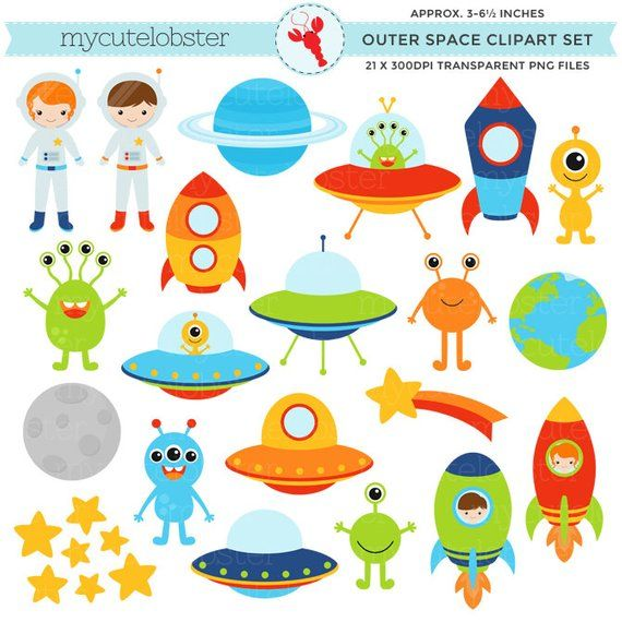 Planets clipart spaceship. Outer space set clip