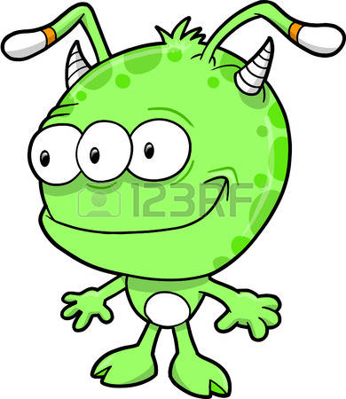 Alien for kids collection. Aliens clipart green