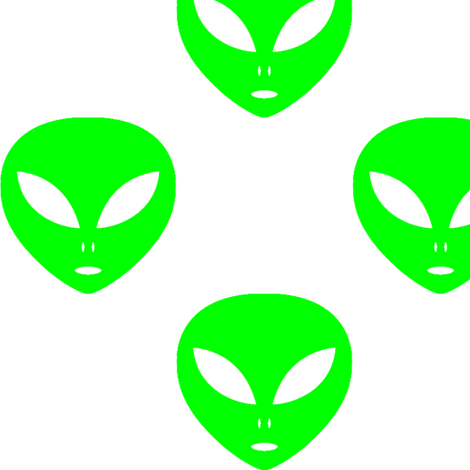 Three inch on white. Aliens clipart lime green