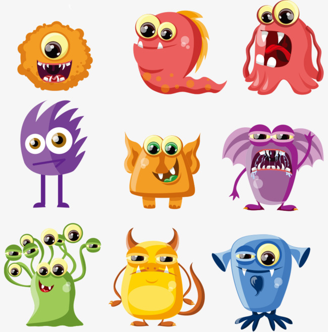 Small alien monsters vector. Aliens clipart little