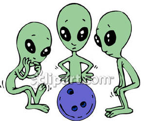 Aliens clipart little. Three looking at a
