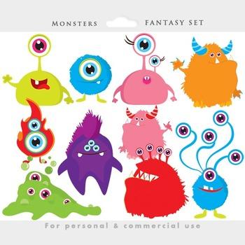 Monsters clip art whimsical. Aliens clipart monster