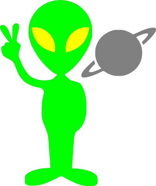 Alien clipart. Making peace sign clip