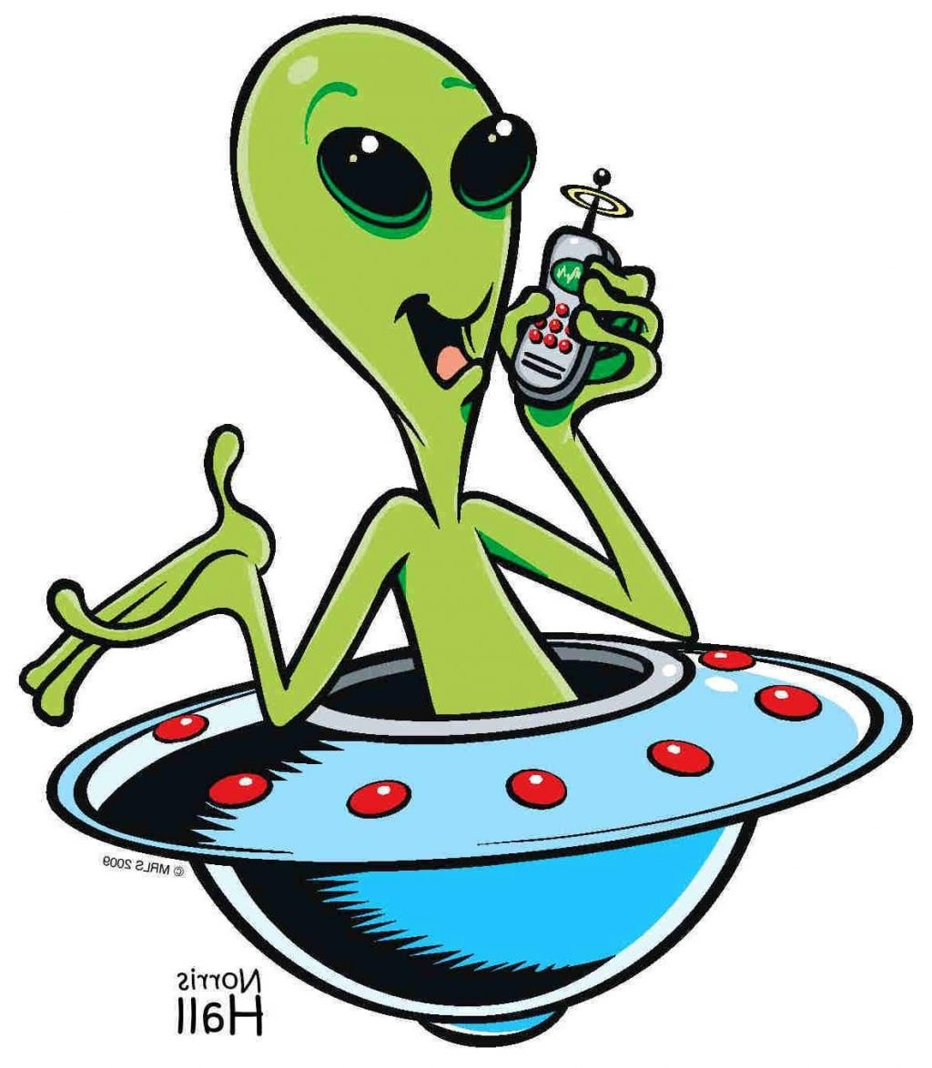 New collection digital coloring. Spaceship clipart green alien