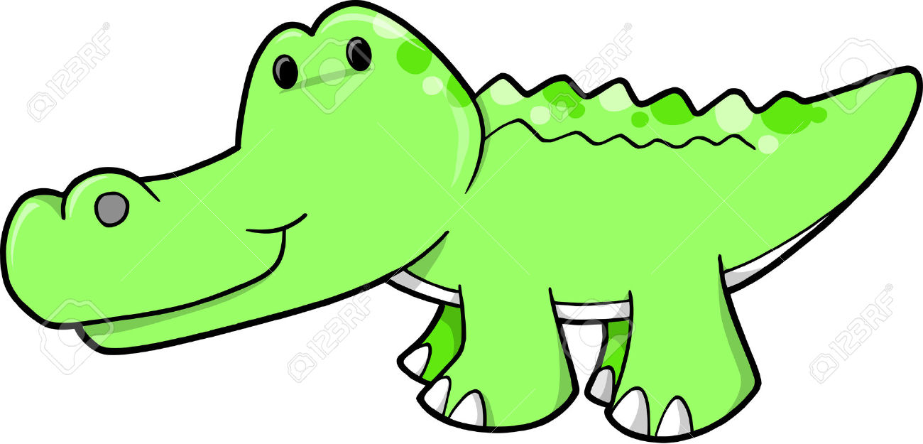 Cute pictures group vector. Alligator clipart adorable