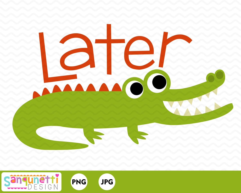 Alligator clipart adorable. Later gator digital art