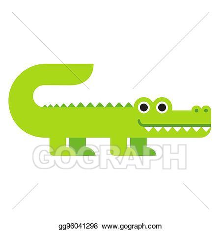 Alligator clipart adorable. Vector stock cute cartoon