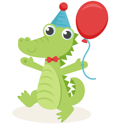 Alligator clipart adorable. Birthday svg scrapbook cut