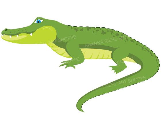 Crocodile digital download art. Alligator clipart easy