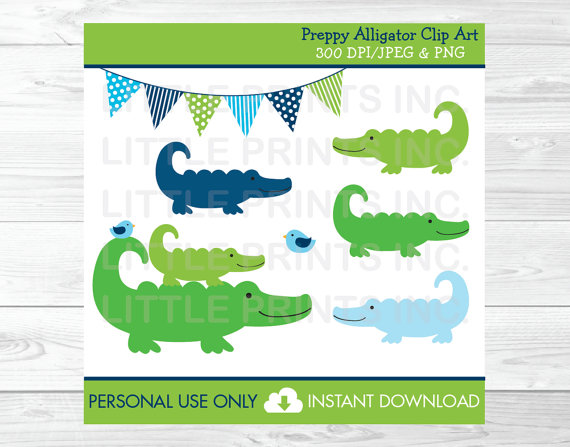 Alligator clipart easy. Preppy personal use instant