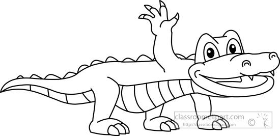 Black and white . Alligator clipart kid