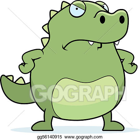 Alligator clipart mad. Eps vector angry lizard