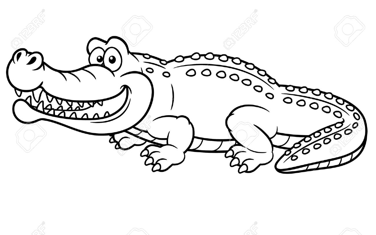 In water drawing at. Alligator clipart printable