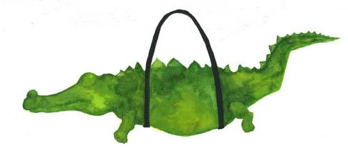 Pencil and in color. Alligator clipart purse
