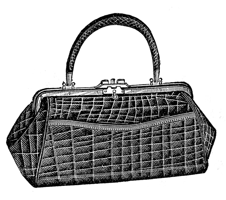 Antique image ladies the. Alligator clipart purse