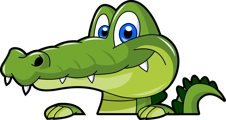 A cartoon alligator face. Crocodile clipart simple