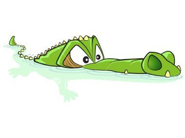 Alligator clipart swimming. Crocodile cartoon illustration jpg