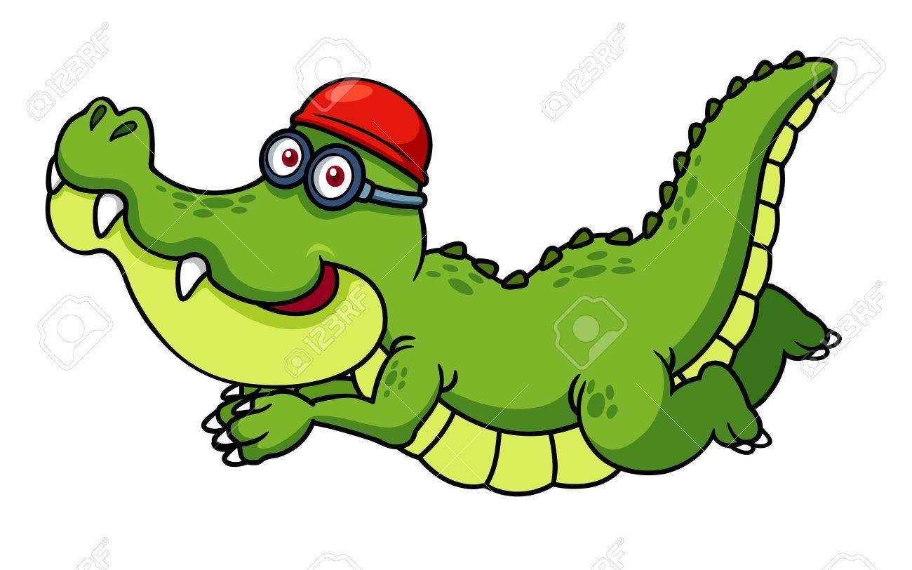 Stock vector aligtr crocodile. Alligator clipart swimming