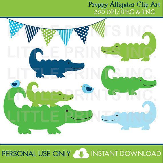 Crocodile clipart preppy alligator. Personal use instant download