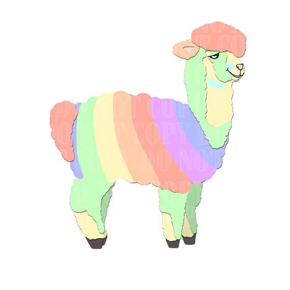 Alpaca clipart. Rainbow clip art alpacas