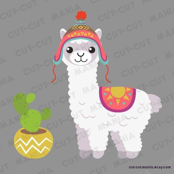 Cute lhama cactus clip. Alpaca clipart