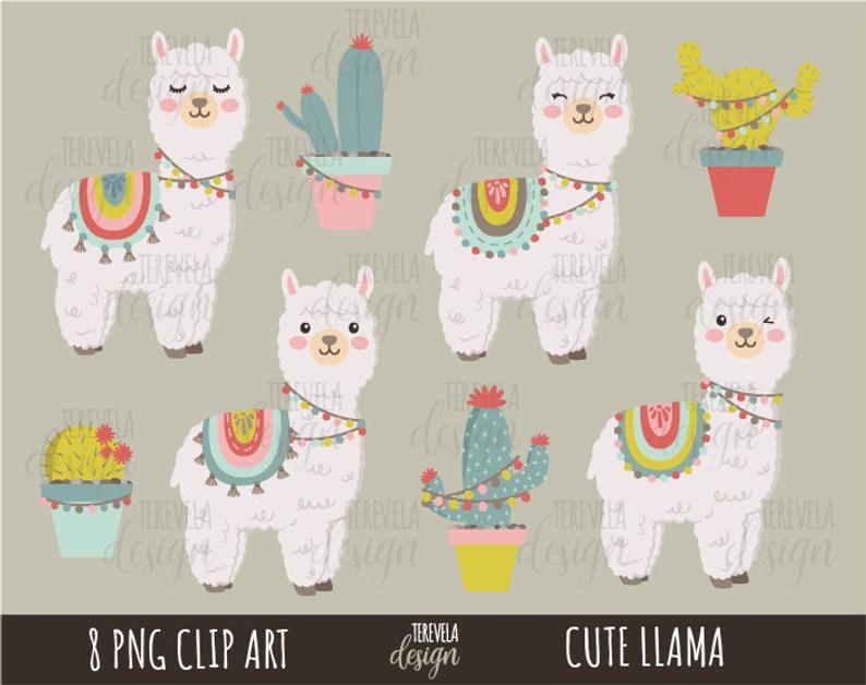Cute llama commercial use. Alpaca clipart adorable