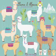 Alpaca clipart adorable. Cactus and llama desert