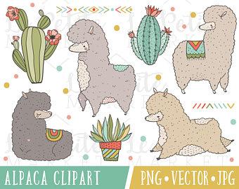 Llama vector etsy cute. Alpaca clipart adorable