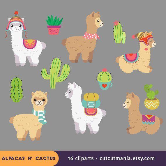 Alpaca clipart adorable. Cute lhama cactus clip