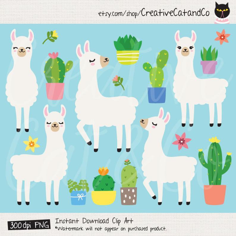 Alpaca clipart adorable. Plain llama white and