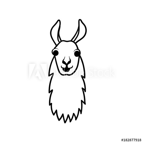 Vector illustration of cute. Alpaca clipart animal american