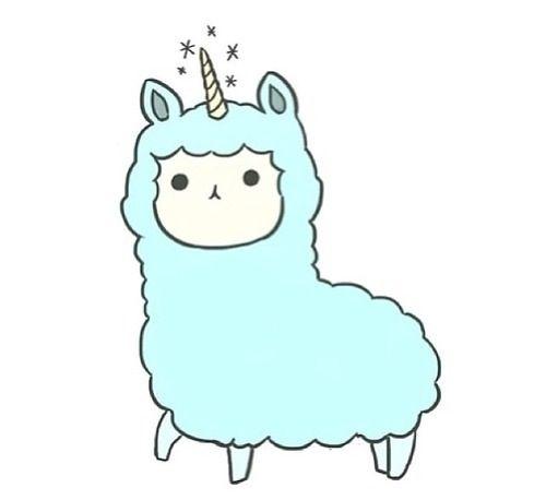 Blue unicorn adorable alpacas. Alpaca clipart cute anime