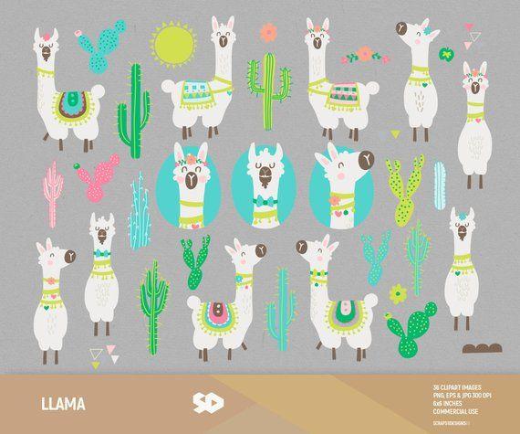 Alpaca clipart drawing. Llama cactus clip art