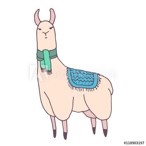 Alpaca clipart drawing. Vector cute lama illustration