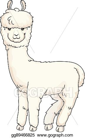 Alpaca clipart drawing. Vector art furry looking