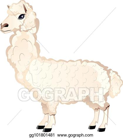 Alpaca clipart fluffy. Eps illustration cartoon furry