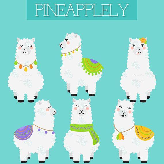 Alpacas digital clip art. Alpaca clipart fluffy