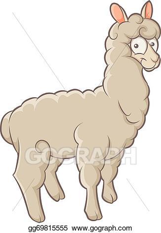 Vector art drawing gg. Alpaca clipart fluffy