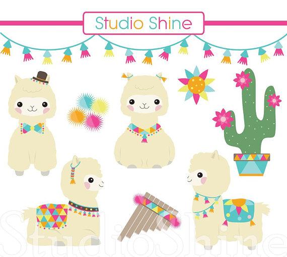 Digital cute animal clip. Alpaca clipart party