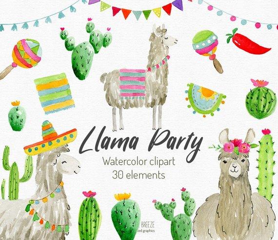 Alpaca clipart party. Llama watercolor