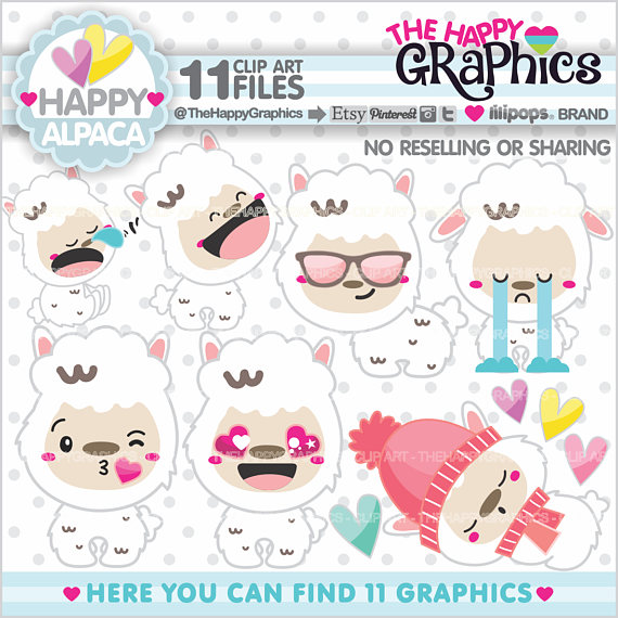 Off graphics commercial use. Alpaca clipart party