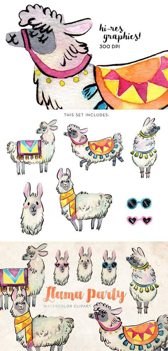 Llama watercolor set . Alpaca clipart party