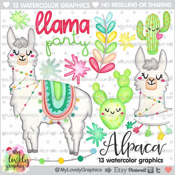 Alpaca clipart party. Graphics commercial use llama