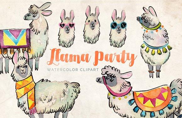 Llama watercolor set illustrations. Alpaca clipart party