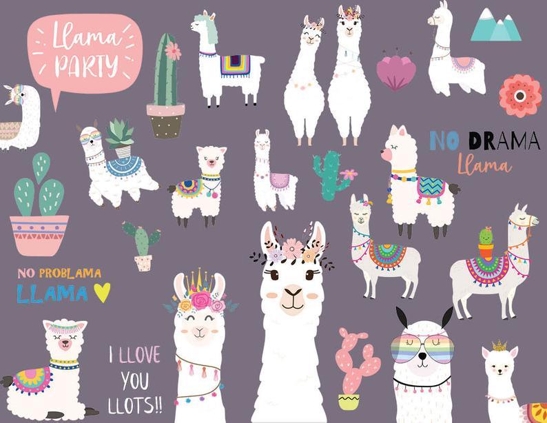 Llama birthday scrapbooking paper. Alpaca clipart party