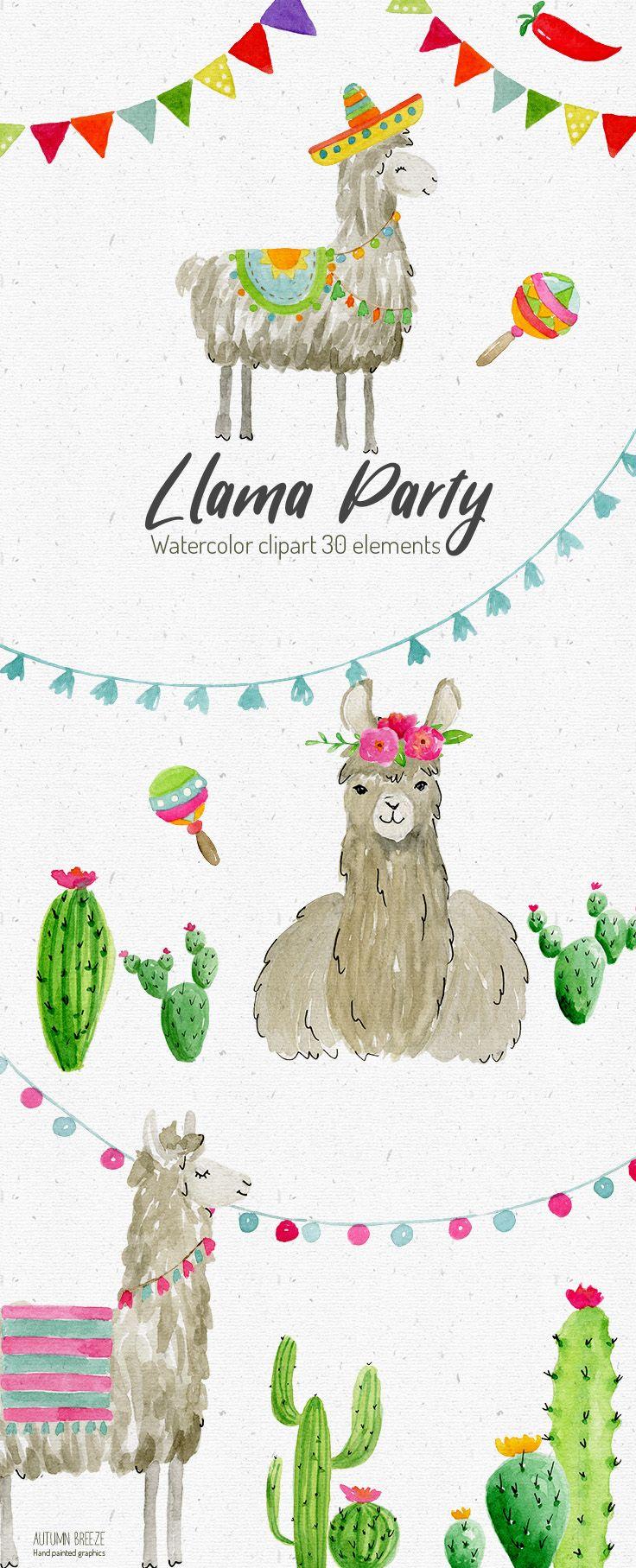 Llama watercolor . Alpaca clipart party