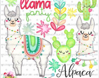 Alpaca clipart party. Clip art etsy graphics