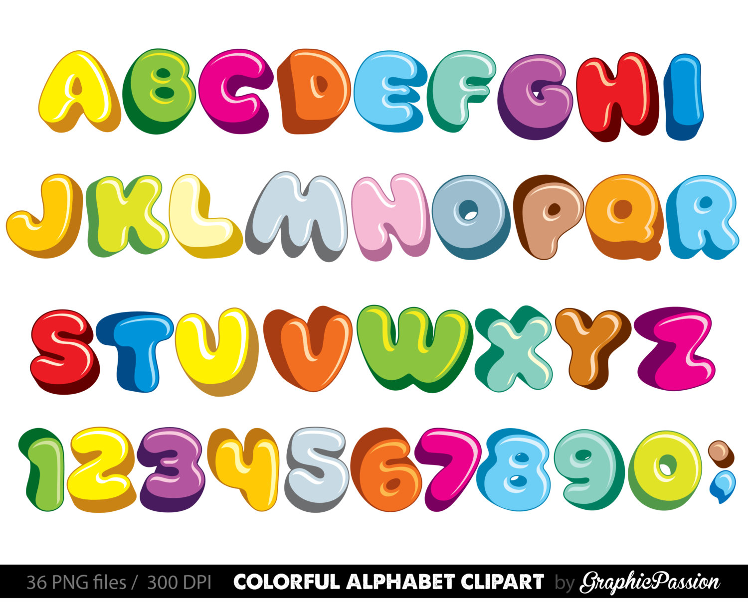 Fluffy alphabet color digital. Clipart letters